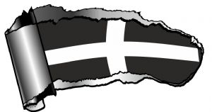 Ripped Open Gash Torn Metal Design With Cornish Cornwall St Pirans Flag Vinyl Car Sticker 140x75mm